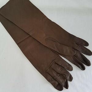 Vintage-Caresskin-by-Superb-Washable-Leather-Long-Brown-Gloves-Size-7-14-034
