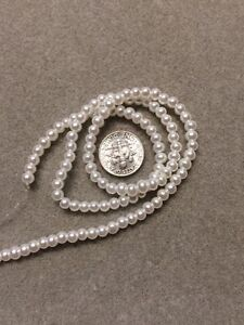 100 - 4mm Round Czech Glass Pearl Beads - White