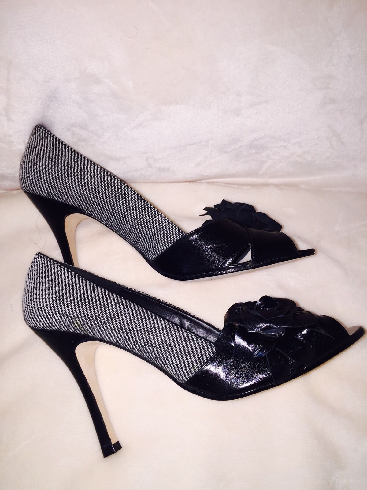 NWB, Sacha London Black & White White White Tamara Leather & Tweed, made in Spain size 9.5 B c3491e
