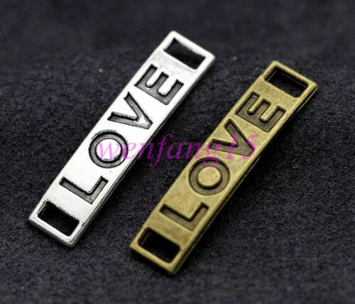 Charm connector Tibetan silver love fit DIY bracelet necklace