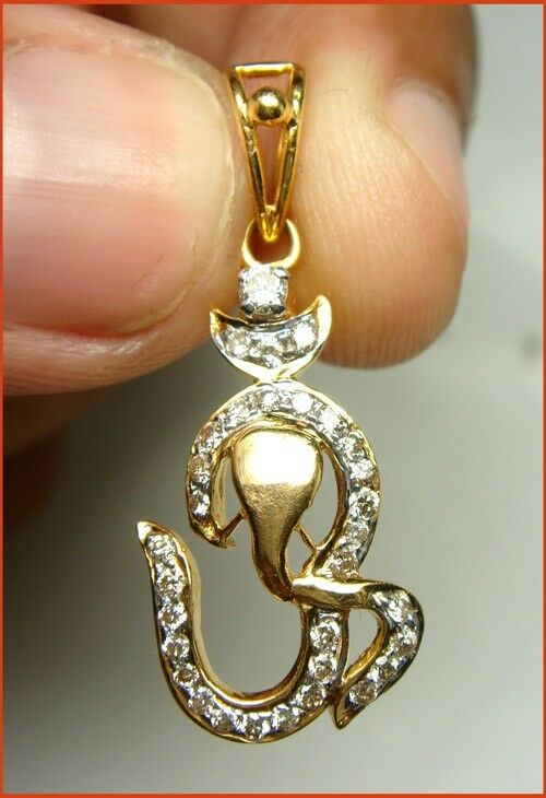 0.71CT NATURAL DIAMOND 14K SOLID gold WEDDING ANNIVERSARY OM GANESHA PENDANT