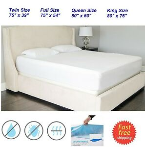 soft quiet waterproof mattress bed protector cover king queen full size topper ebay. Black Bedroom Furniture Sets. Home Design Ideas