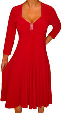 KH3 FUNFASH APPLE RED 3/4 SLEEVE EMPIRE WAIST COCKTAIL DRESS Plus Size 2X 22 24