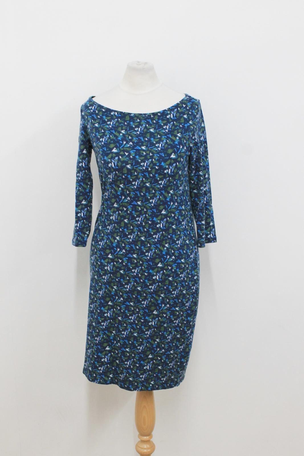 8992be77b743 Pure Donna Blu verde stampati 3 4 Maniche Lunghe Abito A Matita UK8 Bianco  Collection nqcrpq3681-Vestiti
