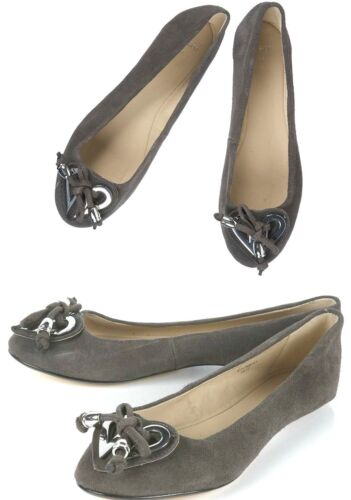 Topshop Detail New Leather Heart Flat Shoes Genuine Suede Grey Pumps qwCrqgp