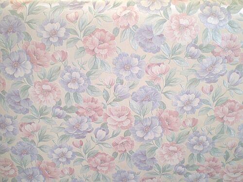 Vintage Satin Lavender /& Pink Floral on Cream by Porcelain Prints 19507