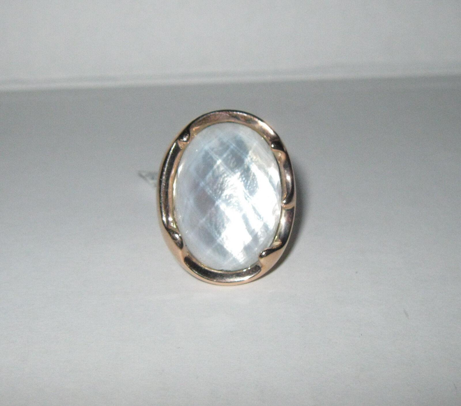 Bold Oval Fabulous Gemstone MOP Doublet Ring 14K gold Size 7  526