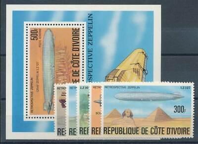 Elfenbeinküste Nr.517-21+bl.8** Zeppeline Um Das KöRpergewicht Zu Reduzieren Und Das Leben Zu VerläNgern Verkehr & Transport Briefmarken Verantwortlich 584417