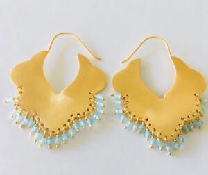 18K-Gold-on-925-Sterling-Silver-Gemstone-Earrings-Hoop-Ethnic-Tribal-Aquamarine
