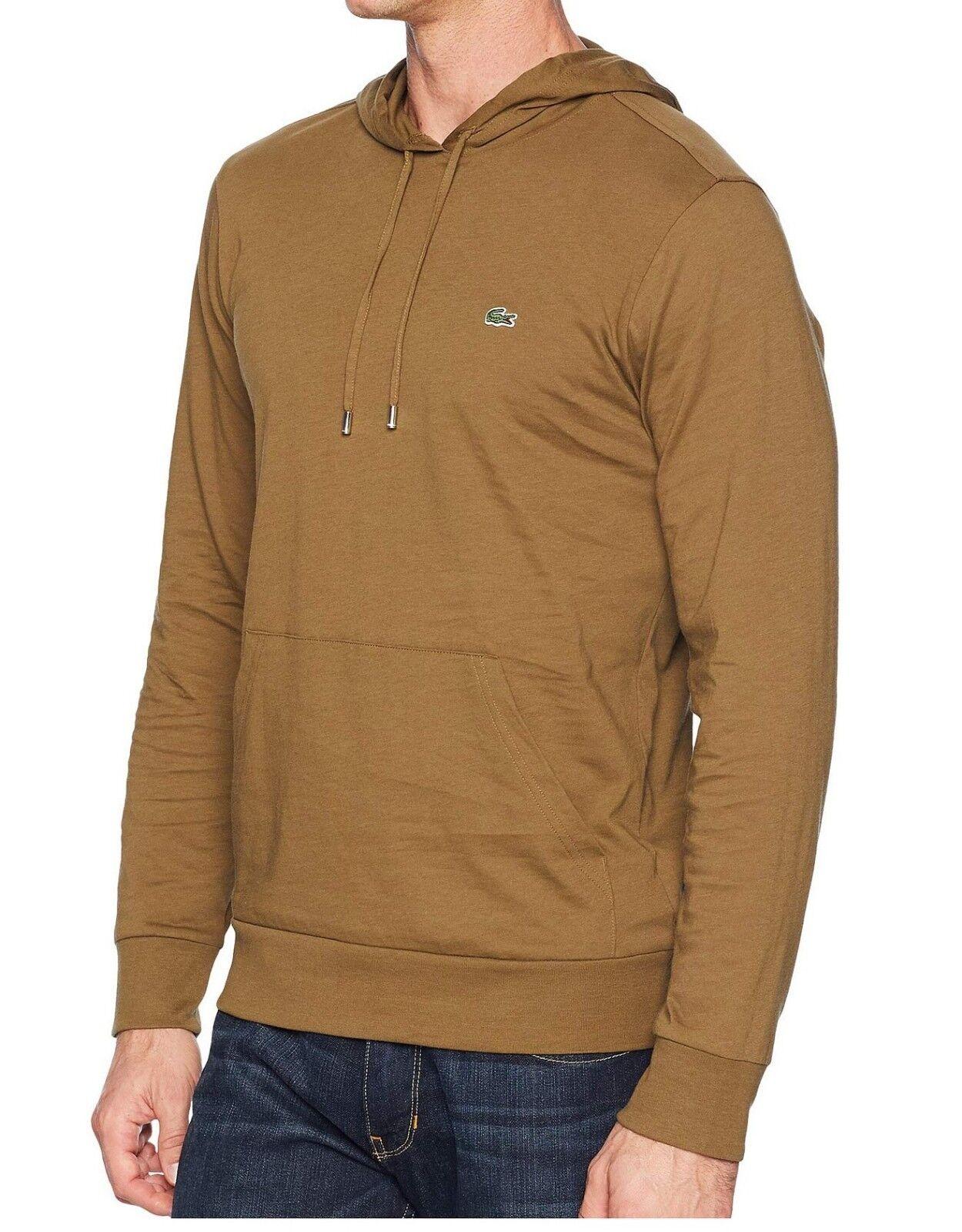 Lacoste Men Casual Lightweight Jersey Pullover Hoodie Sweater Top Shirt Grün