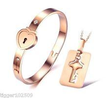 Stainless Steel Love Heart Lock Bracelet With Key Pendant Necklace Set