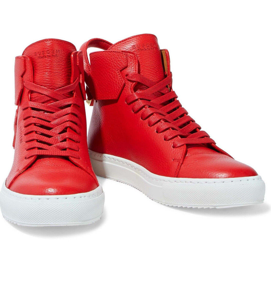 BUSCEMI 125MM RED WHITE LEATHER HI-TOP MEN'S SNEAKERS Sz. 43IT 10US