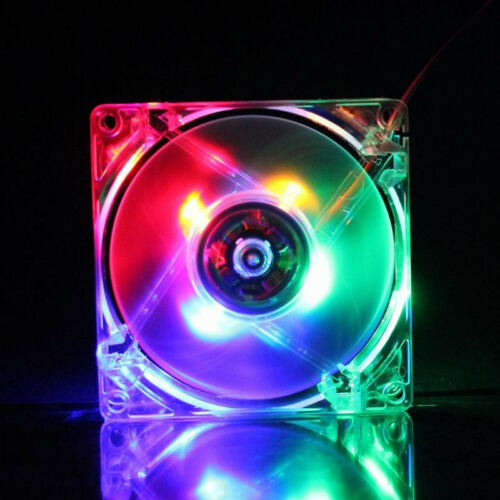 1Pcs Colorful LED 12V 4PIN 80MM 80x25mm DC Brushless Fan For Computer Case Cool