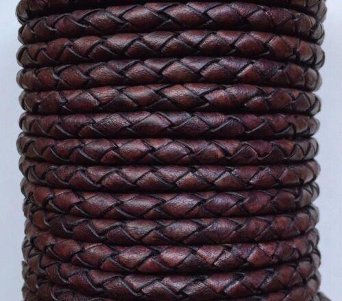 Genuine Round Bolo Braided Leather Cord 3mm Premium Leather Round Cord