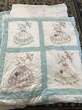 Homemade Vintage Dutch Girl Hand Embroidered Machine Quilted Quilt Blanket 74x95