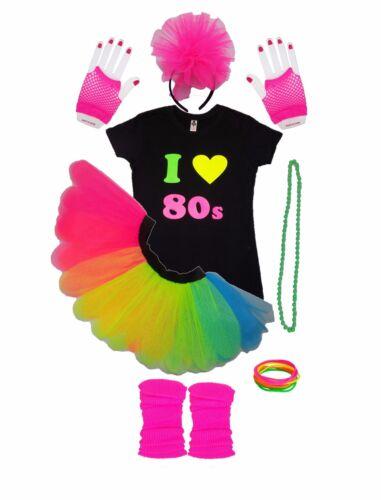 CHILDRENS I LOVE 80S NEON TUTU SKIRT BLACK TOP GLOVES HEADBAND LEG WARMER PARTY