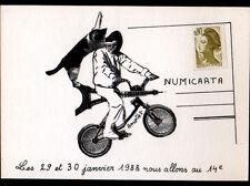 PARIS / CARICATURE de TOUR EIFFEL & CHAT à VELO illustrée par AMETIST en 1988