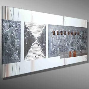 MODERNE MALEREI BILDER abstrakt MICO 120x40 SILBER 3D KUNST ORIGINAL ACRYLBILD