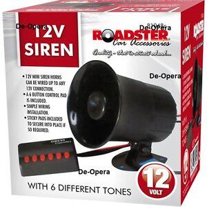 12v Car Siren Van Horn 6 Different Tones Siren Alarm Sounds Ebay