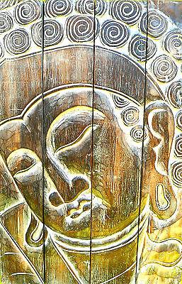 BOUDDHA BOIS BOUDDHISME ZEN WOOD BUDDHA STATUE GRAVURE TABLEAU DECO SPA