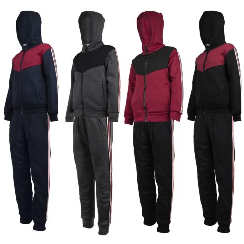 Kids Side Striped Tracksuit Boys Contrast Insert Girls Hooded Top Joggers 3-14 Y