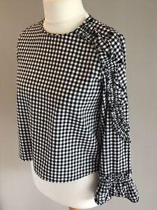 Black/& White Checks BNWT ZARA Trafaluc Collection Embroidered Top Size M Or L