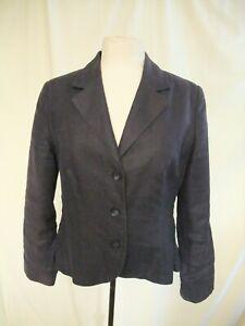 Ladies-Suit-Jacket-Per-Una-UK-14-navy-linen-length-23-034-fitted-blazer-used-1208