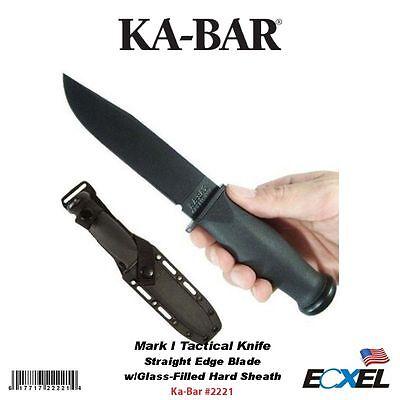 Ka-Bar #2221 Mark I Tactical Knife, Straight Edge, w/Glass-Filled Hard Sheath