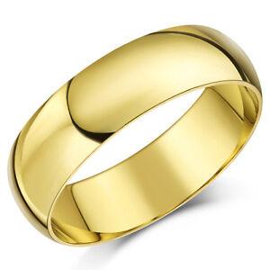 9Ct-Anillo-Oro-Amarillo-Peso-Ligero-Forma-de-D-Alianza-6mm-Hombres-Mujer-Banda