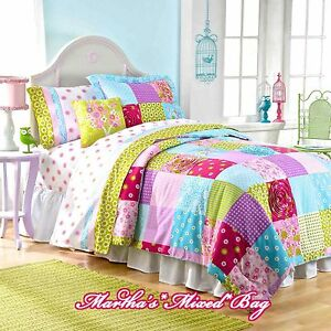 Girls Pink Patchwork Country Shabby Cottage Chic Full Size