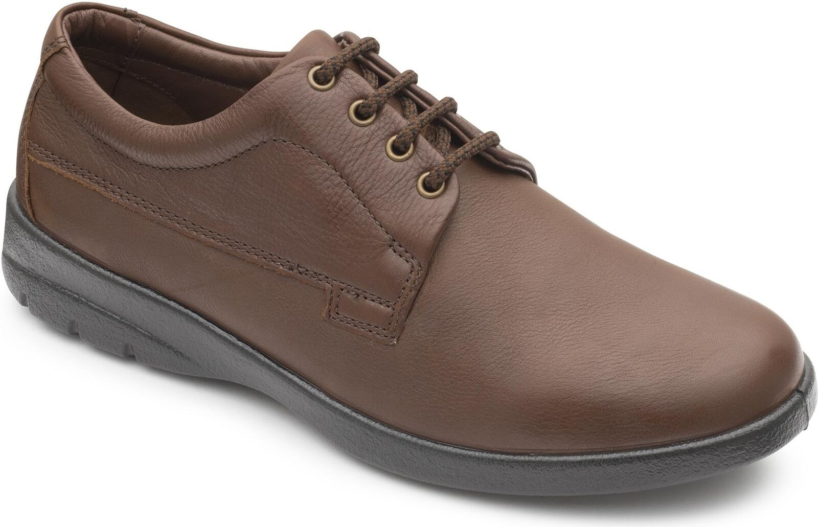 Padders LUNAR Mens Leather Wide Dual Fit (G H) Lace Up Comfort shoes Dark Tan