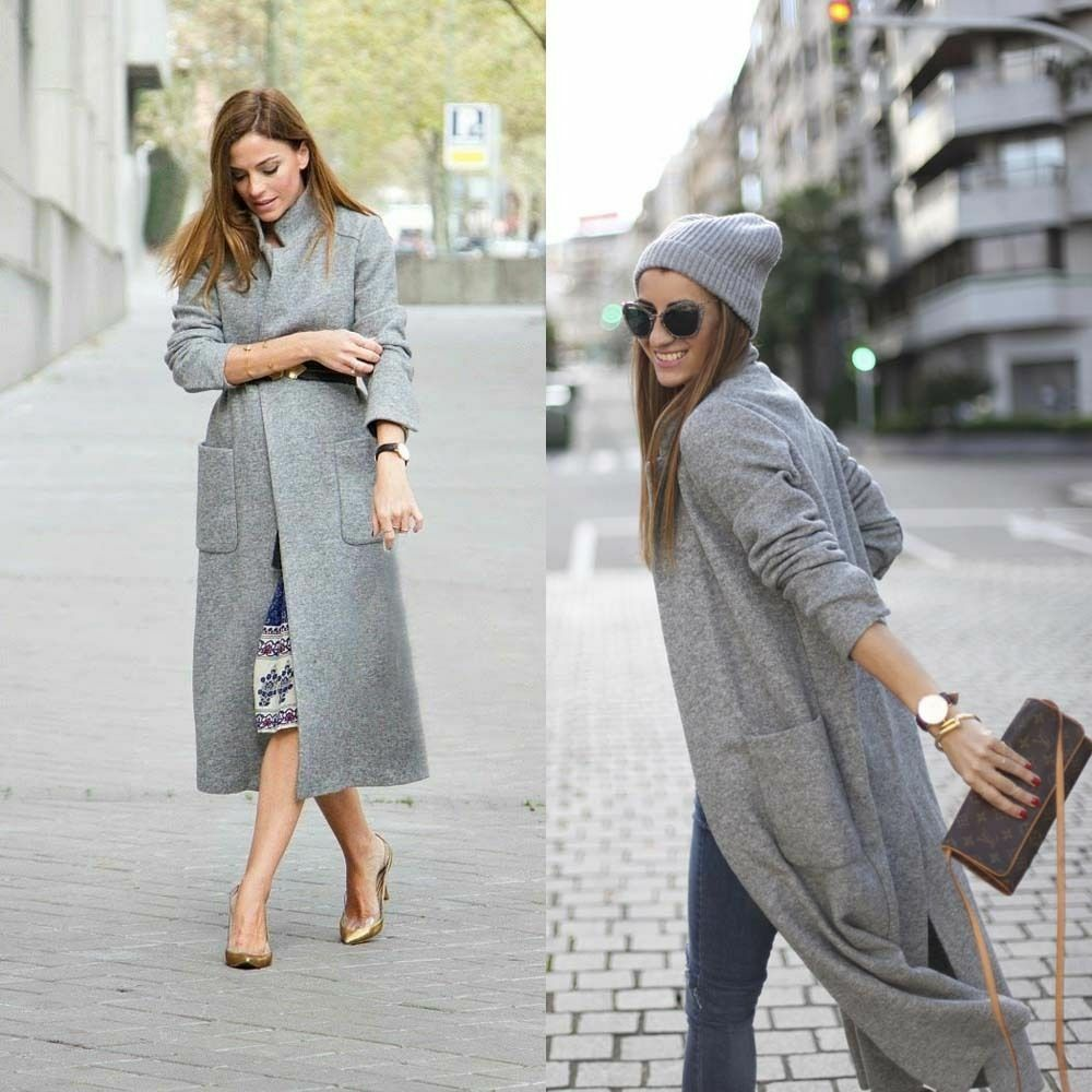 ZARA maxi extra long grey wool coat sold out bloggers favorite rare Size M