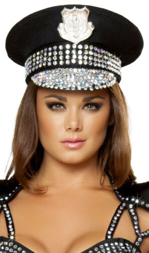 Studded Police Hat Rhinestones Badge Captain Officer Cop Cadet Costume H4396