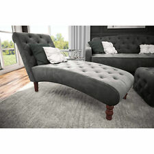 Chaise Lounge Chair Tufted Gray Velvet Upholstery Couch Living