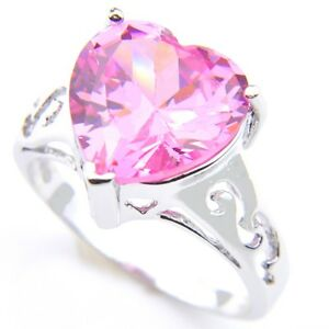 8 Flower Shaped Handmade Jewelry Natural Pink Topaz Gemstone Silver Ring Size 7 8