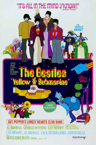 1968 YELLOW SUBMARINE THE BEATLES VINTAGE MOVIE POSTER PRINT 24x16 9MIL PAPER