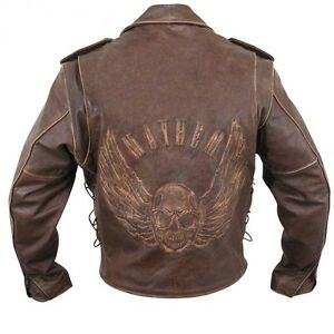marron-use-cuir-moto-protection-Veste-avec-relief-VOLANT-Skull