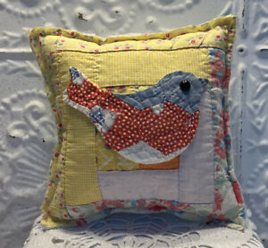 NEW-Handmade-Bird-Pillow-Vintage-Quilt-Old-Chenille-Bedspread-Super-Cute