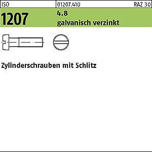 200 Schlitz Zylinderschrauben ISO 1207 4.8 verzinkt M5x22