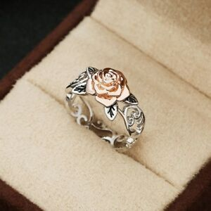 Exquisite-Two-Tone-925-Silver-Floral-Ring-14k-Rose-Gold-Flower-Wedding-Jewelry