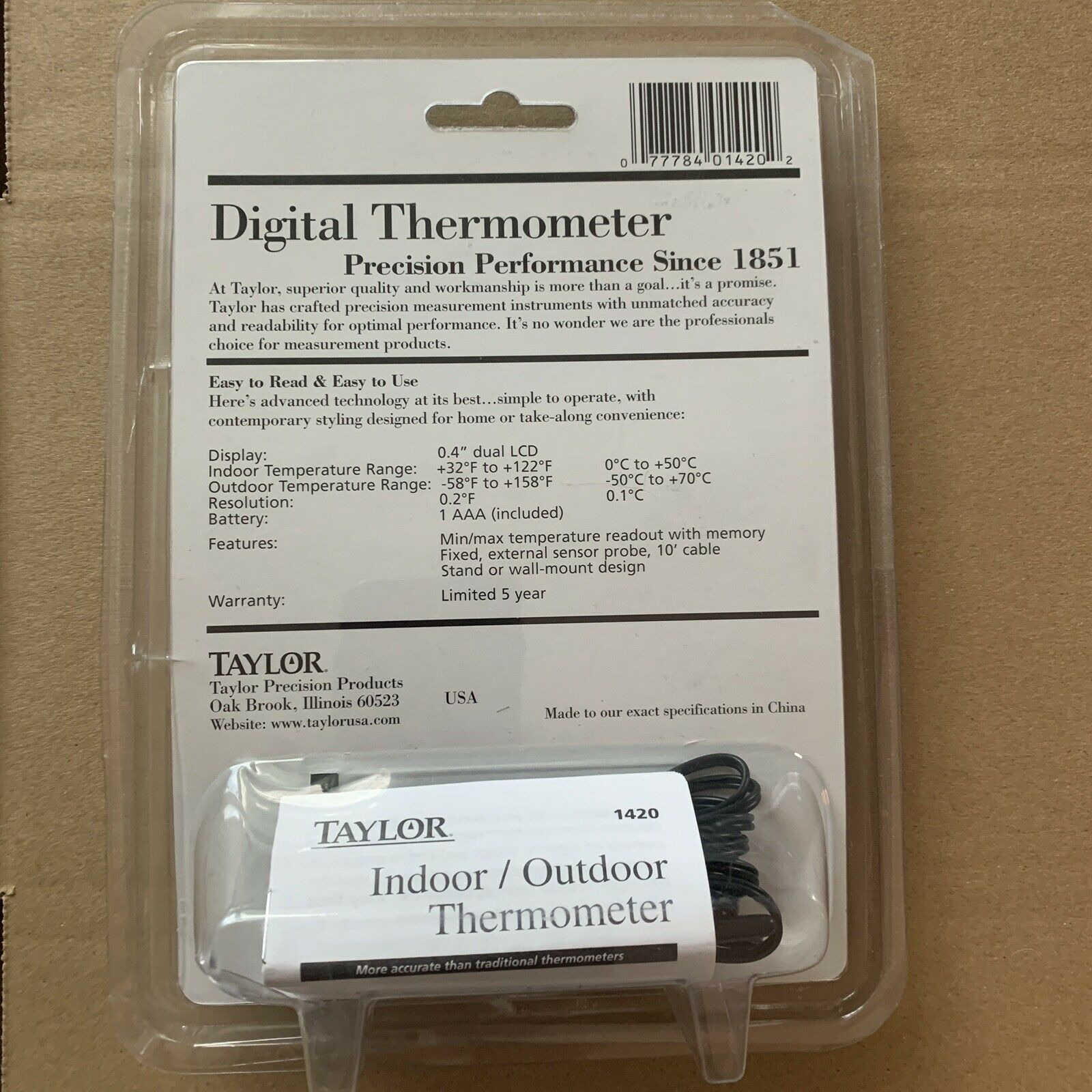 Taylor Digital Thermometer Indoor Outdoor NEW in packaging LCD DISPLAY Battery