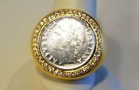 Veronese 18k Clad 100 Lire Coin Crystal Ring Size 8