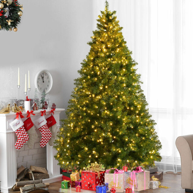 5Ft Pre-Lit Artificial Christmas Tree W/Stand+ 8 Mode 400 LED Warm White - 5ft Pre-lit Artificial Christmas Tree W/stand 8 Mode 400 LED Warm