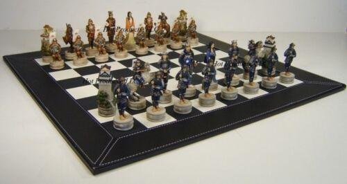 "JAPANESE SAMURAI WARRIOR Chess Set W 18/"" BLACK FAUX LEATHER BOARD"