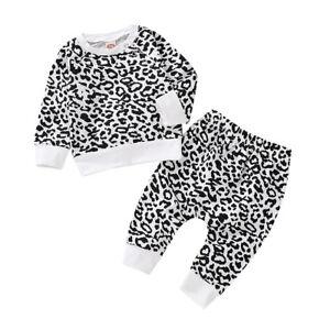 b98d1ce40a1c Details about UK Newborn Baby Leopard Print Top T shirt Pant Outfit Boy  Girl Clothes Tracksuit