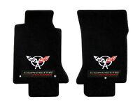 Floor Mats 2000-2004 Corvette W/ Racing Embroidered Flag Emblem Logo Pair
