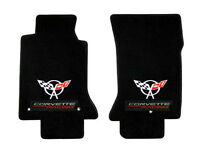 Black Floor Mats 1997-1999 C5 Corvette W/ Racing Embroidered Flag Emblem Logo