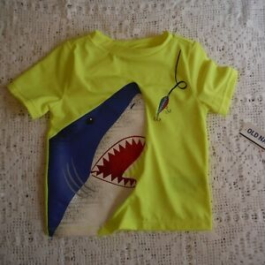 Yellow-shark-Rash-Guard-size-12-18-months-Boys-Old-Navy-swim-top-new