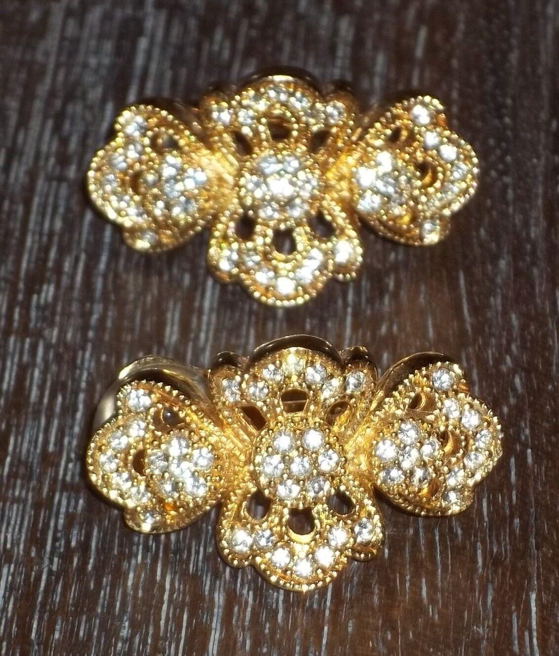 Christian Dior Swarovski gold Tone Earrings Vintage Clip Gorgeous High Quality