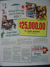 1947 Borden's Dairy Cows Elsie Elmer $25,000 Sweepstakes Vintage Print Ad 12559